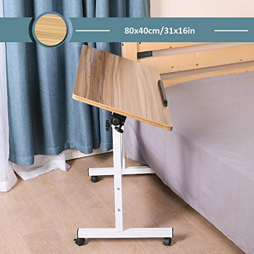 Carbon Steel Fold Out Desk with Beige MDF,Adjustable height, Lockable Casters, Foldable,Desk Laptop Stand for Laptop, Tablet, Foldable, Portable