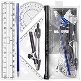 Compasso per tracciare Akuoly Set goniometro con Astuccio trasparente, Squadra geometrica,...