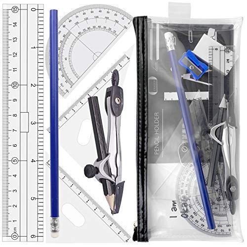 Geometría compás escolar para estudiantes con transportador, regla en Estuche para lápices transparente