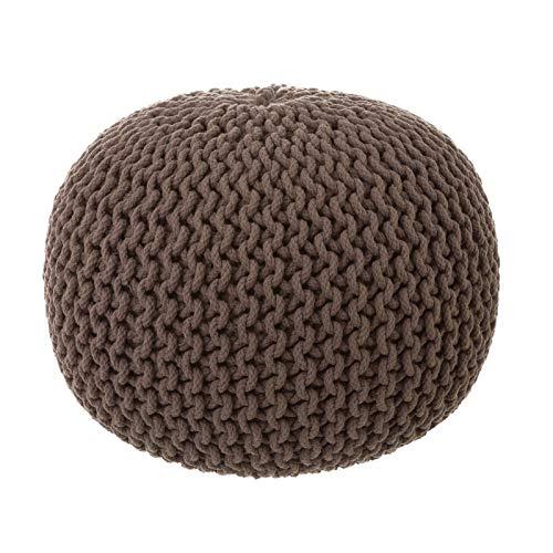 Puff Trenzado algodón marrón nórdico