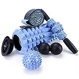 5 in 1 Faszienrolle Foam Roller Fitness Set, Massageroller mit Endkappen, Muskelroller,Doppelte Lacrosse-Erdnuss, Massagebälle, Stretchband für Yoga Sport Fitness Plantarfasziitis Reflexzonenmassage