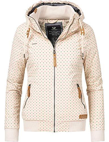 Ragwear Damen Winterjacke Outdoorjacke mit Kapuze Nuggie Beige gepunktet Gr. XL