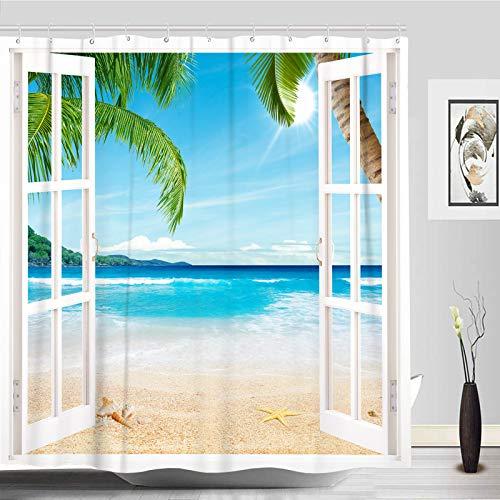 Accnicc Tropical Beach Ocean Shower Curtain Set, Palm Tree Turquoise Fabric Cloth Bathroom Curtain, Modern Decorative Bath Curtains Decor