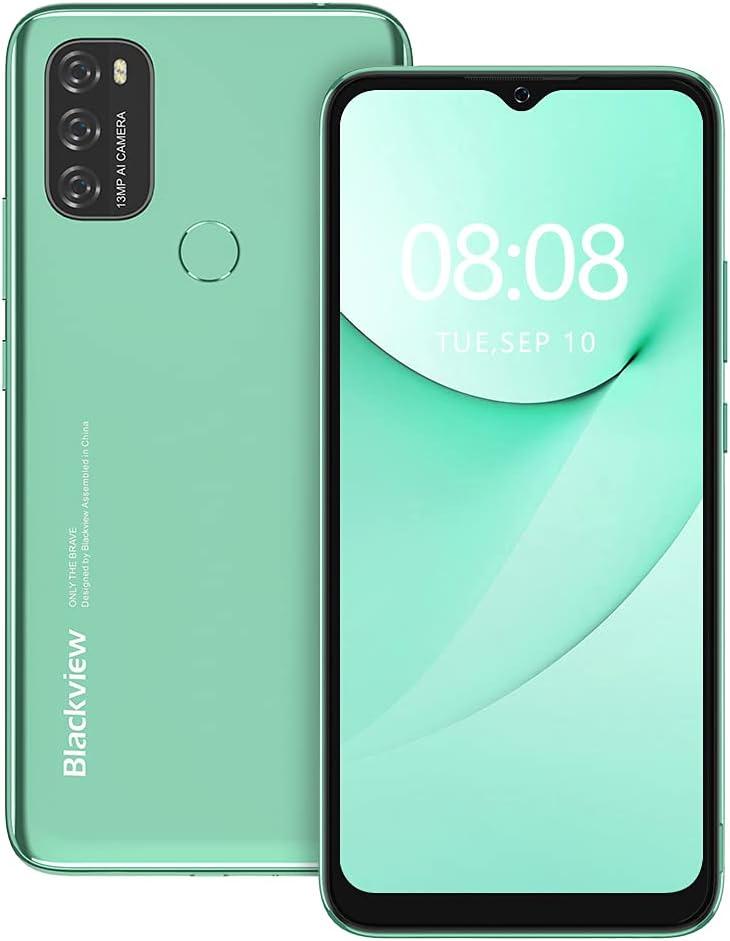 Android 11 Teléfono Móvil Libres, Blackview A70 (2021) 4G Smartphone 6,52 Pulgadas Octa-Core 3GB+32GB 256GB Ampliables, 5380mAh Baterí Triple Cámara 13MP+5MP, Huella Digital/Face ID/GPS/FM (Verde)