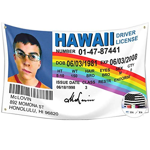McLovin ID Flag Fake Driver License Flag,3x5 Feet Banner,Funny Poster UV Resistance Fading & Durable Man Cave Wall Flag with Brass Grommets for College Dorm Room Decor,Outdoor