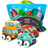 UNIH Pull-Back Vehicle for Baby Cars Toys, 4 Pcs Soft Plush Car Set with Play Mat (Storage Bag), Toddlers Aged 1 2 3 Year Old