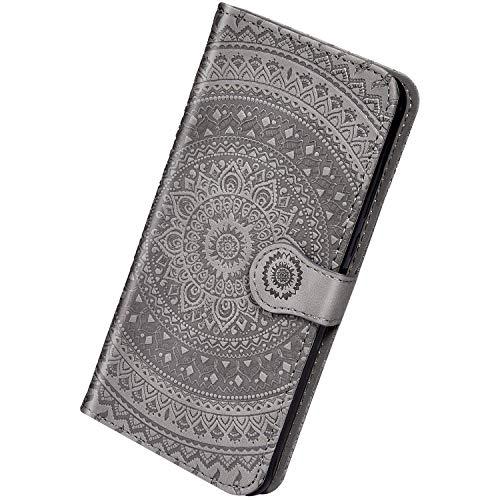 Herbests Kompatibel mit Huawei Mate 20 Lite Leder Hülle Schutzhülle Handyhüllen Vintage Sonnenblume Muster Flip Brieftasche Wallet Tasche Ständer Klapphülle Etui Case Magnetverschluss,Grau
