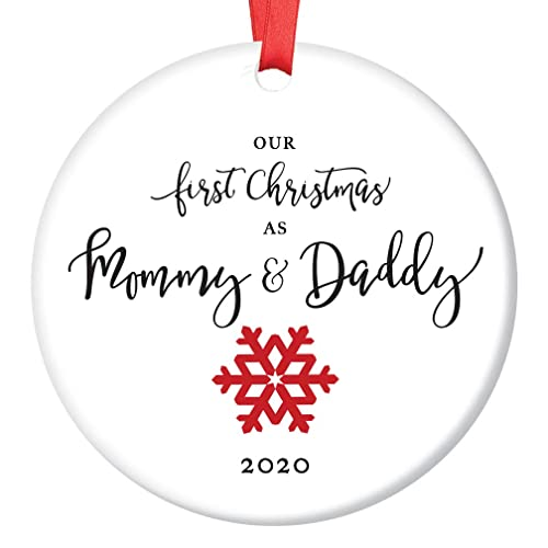 Our 1st Christmas as Mommy and Daddy 2019 First Time New Parents Holiday Ornament Cute Red Bird Family Mom Dad Baby Newborn Infant Keepsake Present 3 Flat Porcelain with White Ribbon /& Free Gift Box
