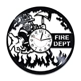 Kovides Fire Department Vinyl Clock 12 Inch for Man Profession Vinyl Record Wall Clock Firefighter Original Home Decor Fire Department Handmade Clock Profession Birthday Gift for Boy