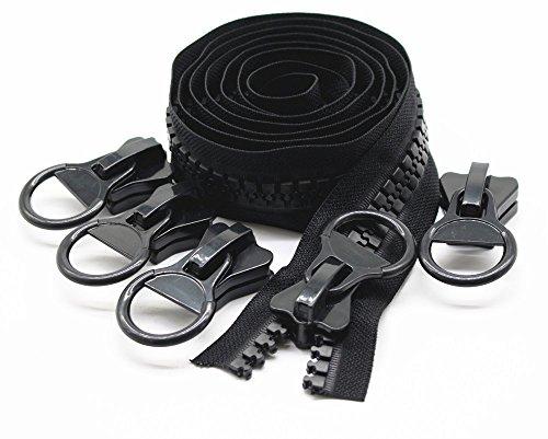 YaHoGa #20 super grandes cremalleras por metros de plástico cremalleras de color negro resistentes bulk para coser DIY Tailor Crafts Bags Tiendas de campaña, negro 1.8M