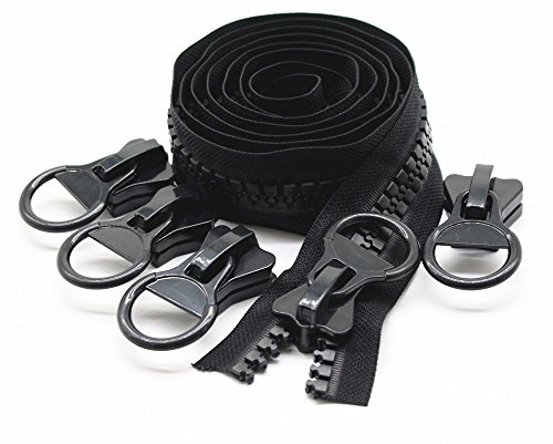 YaHoGa #20 super groß Reißverschluss endlos Schwarze 1,8 m endlos Reißverschluss Kunststoff + 5 Nonlock-Zipper (Schwarze 1,8 M)