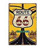 Lumanuby. 1x Gemalt 'Route 66' Deko Wandschild mit Bilder