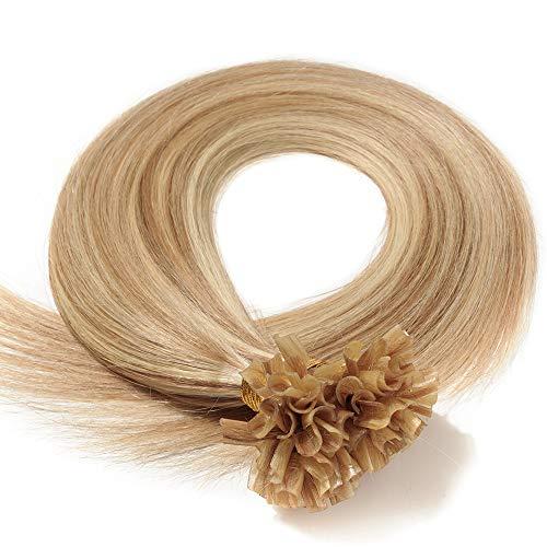 Echthaar Extensions Bondings 50cm Haarverlängerung Keratin Bonding 100 Strähnen #12/613 hellbraun/hell-Lichtblond
