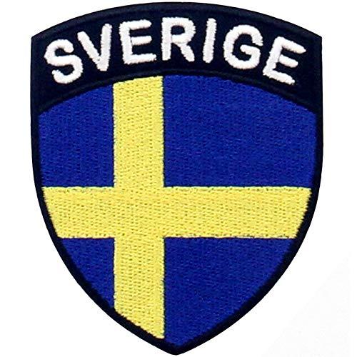 EmbTao Schweden Schild Flagge Bestickter Aufnäher zum Aufbügeln/Annähen