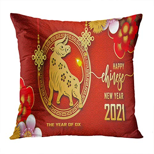 Qryipd Throw Pillow Cover Happy Chinese New Year 2021 The of Ox Fortune Greeting Graphic Red Gold Home Decor Living Room Bedroom Office Polyester Pillowcase