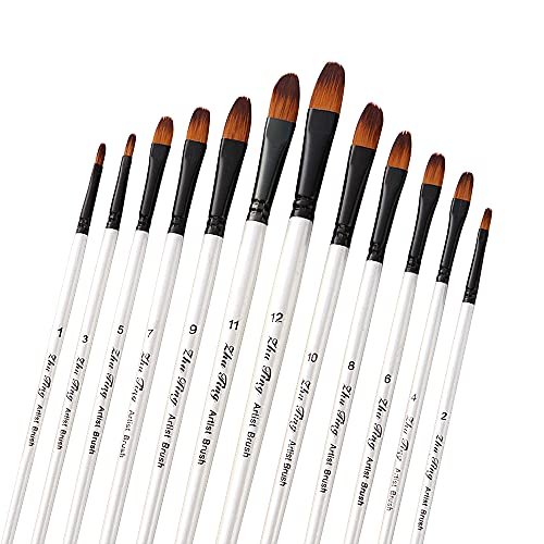 12 Pcs Paint Brushes Set, HommyPrefer Professional Filbert Paint Brushes, White Artist Paint Brush for Acrylic, Watercolor, Crafts, Rock Painting, Oil Painting and Gouache Paint
