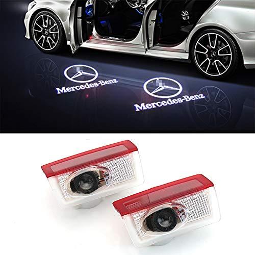 Cqlights Auto LED Tür Logo Ghost Shadow Projektor Laser Willkommen Lichter für Benz Serie Symbol Emblem Höflichkeit Schritt Lichter Bodenlampe Kit (2 Pack)