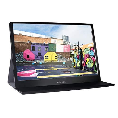 WIMAXIT - Monitor portatile da 15,6 pollici, 1920 × 1080 Full HD IPS con HDMI per computer portatile, PC, MacBook Pro, Xbox, PS4, Android con funzione completa di tipo C