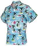 Funny Guy Mugs Mens Flamingo Hawaiian Print Button Down Short Sleeve Shirt, X-Large