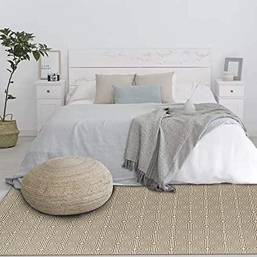 U'Artlines Alfombra de algodón contemporánea de gran área de 120 x 180 cm, lavable a máquina, para interior, para dormitorio, tejido a mano, para sala de estar, lavadero, entrada (café)