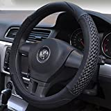 Moyishi Top Leather Steering Wheel Cover Universal Fit Soft Breathable Steering Wheel Wrap (Black)