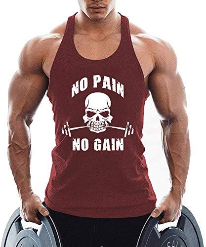 TX Apparel Canotta da uomo Fitness Stringer Teschio Senza Maniche Gilet Gym Shirt Cotone Colore: rosso L
