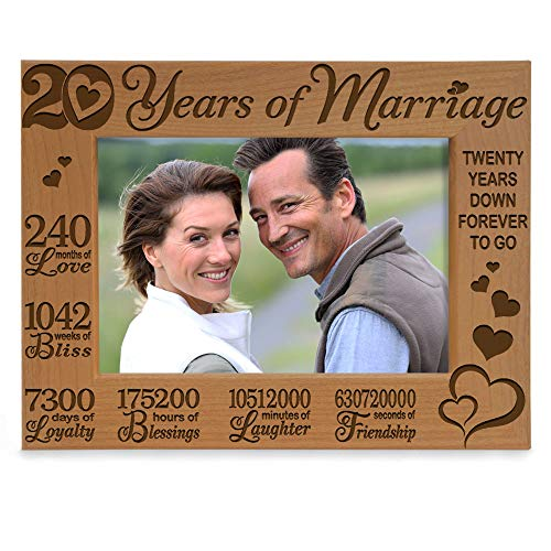 KATE POSH - 20 Years of Marriage, Our 20th Anniversary Engraved Natural Wood Picture Frame, Twenty Years Together, Wedding for Husband & Wife (4x6 Horizontal)