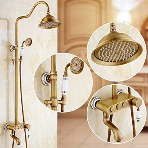 DSJ doucheset antieke doucheset doucheset kan in Europese stijl retro warme en koude douchekop kraan badkamer douche worden opgetild
