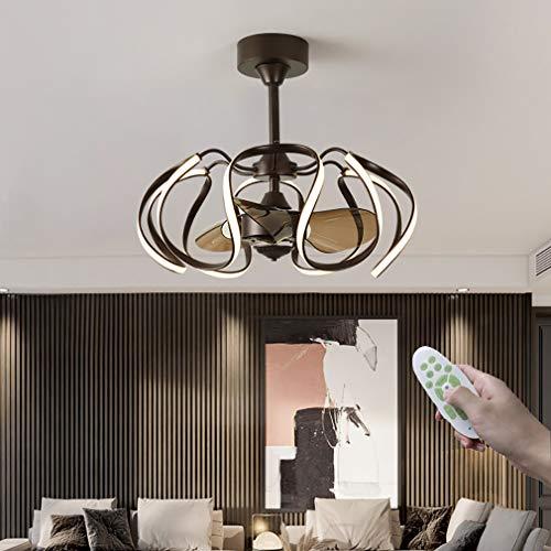 YIYUN Ventiladores con Luces, Moderno LED Regulable con Mando A Distancia 6 Marchas Ajustables Lámpara De Ventilador por Interior Salón Sala Cuarto Comedor,65×55cm