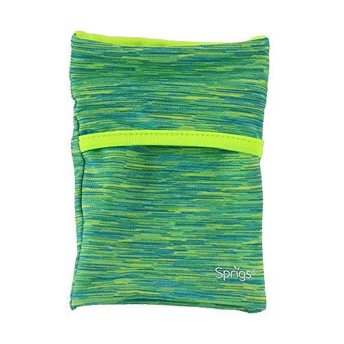 SPRIGS Banjee Handgelenktasche Armband 2 Taschen Handytasche Fitness Sport Stretch Wrist Pocket, 552, Farbe Blau Gelb Meliert