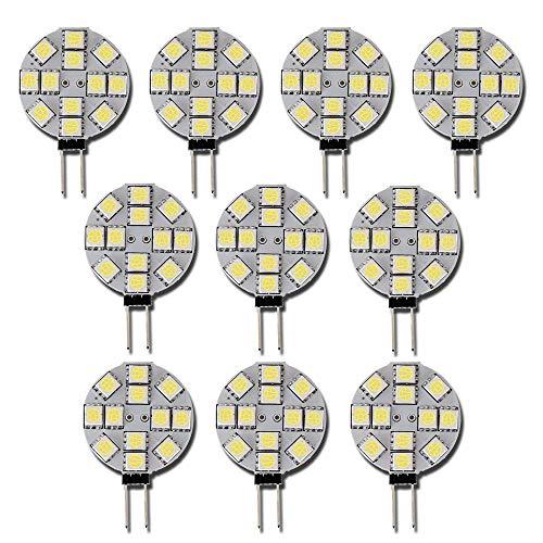 Qasim 10x G4 LED Bombillas Blanco no Regulable 5050 12SMD 110° Haz de Luz de ángel para Interior...