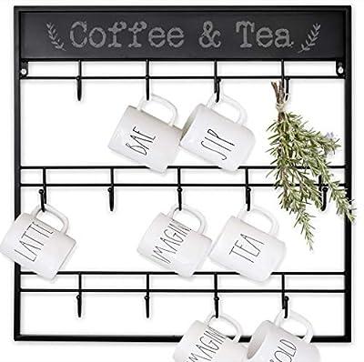 AJART Coffee Mug Rack (13 Hooks/Black) Large Wall Mounted 3 Tiers Coffee Cup Holder for Coffee Mugs, Teacups, Mason Jars, Kitchen Mugs. Display, Organizer and Storage Hangers. by AJART