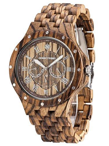 GreenTreen Orologi da polso multifunzione da uomo in legno cronografo da 50 metri con orologio in legno zebrato