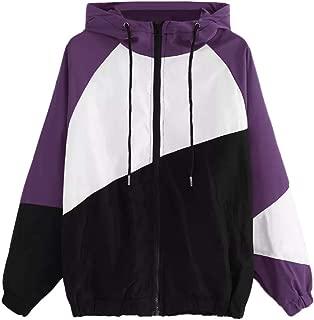 YOCheerful Sport Coat Women Long Sleeve Pockets Patchwork Jackets Autumn Thin Skin Suits Hooded Zipper Casual Coat