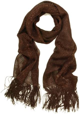 New Ladies Fashion Gold Color Glitter Flower Print Scarf