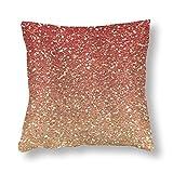 Funda de almohada con purpurina sintética rosa y dorado coral