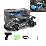 Remote Control Car for Boys, RC Drift Sports Racing Car, 1/16 Fast Electric RC Racing Cars 2.4GHz 15KM/H High Speed Race Car Off Road RC Drift Car Vehicle Toys for Kids Gift (Gray)