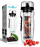 AquaFrut 32 OZ Fruit Infuser Water Bottle BPA-Free Fruit Infusion Sports Bottle - Flip Top Lid w Drinking Spout, Leak Proof, Made of Durable Tritan. Free Recipe eBook! (Black)