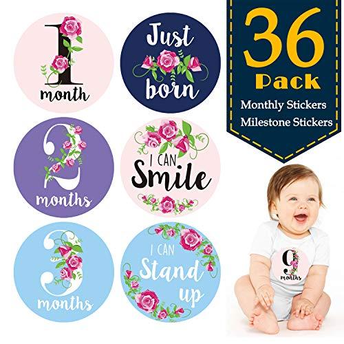 Baby Monthly Milestone stickers (set da 36) – nascita a 12 mesi + 24 bonus realizzazione adesivi-Regali per neonati Corredino Neonato Bambini in legno ricordo regalo