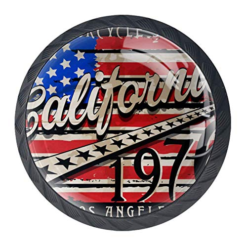 EZIOLY Kalifornische Amarikanische Flagge, Retro-Grafik-Design, dekorative Knöpfe, Schrank, Schubladen, Kommode, Zuggriff, 4 Stück