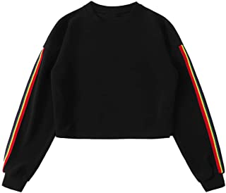 SweatyRocks Women's Rainbow Striped Long Sleeve Crewneck Pullover Crop Top Sweatshirt