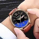 SWJM Nuevo Reloj de Cuarzo para Hombre con Estilo Reloj Impermeable Reloj de Hombre con luz Nocturna Cinturón Concha Dorada cinturón Negro marrón (cinturón)