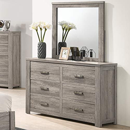 Roundhill Furniture B156DM Contemporary Wood 6-Drawer Dresser with Mirror, Weathered Gray