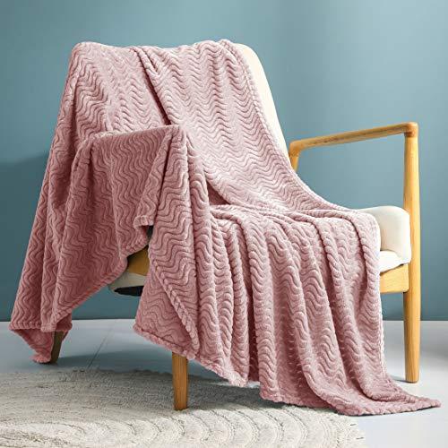 Exclusivo Mezcla Large Flannel Fleece Throw Blanket, Jacquard Weave Wave Pattern (50