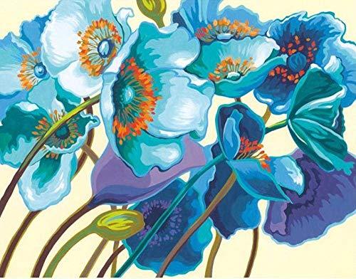 zhangsh DIY Lienzo Mural para Adultos para Pintar por números Flor Azul Decoración Arte-No Frame-40x50cm