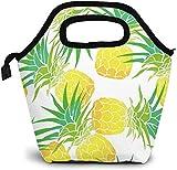 Bolsa de almuerzo reutilizable, bolsa de almuerzo de piña amarilla fresca, para picnic, oficina, al aire libre, térmica, para llevar, gourmet, lonchera, deliciosa fruta, para el almuerzo, contenedor,