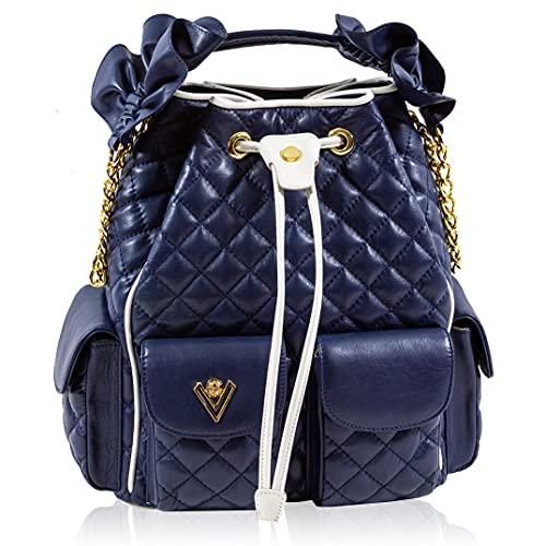 Valentino Orlandi Women's Large Handbag Italian Designer Bucket Drawstring Bag Purse Rhodonite Blue Caviar Quilted Genuine Leather Bag with Chain Strap