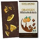 Edelmond Bio Orangen Milchschokolade aus gewalzten Kakaobohnen und luftgetrockneten Orangen. Fruchtiger Geschmack, Fair-Trade Kakao (1 Tafel)