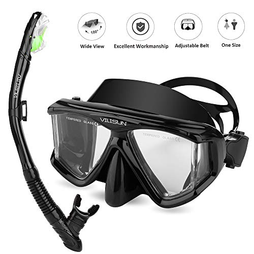 V VILISUN Snorkel Set Adult Snorkeling Set Ultra Panoramic Wide View AntiFog AntiLeak Dry Top Snorkel Impact Resistant Tempered Glass FoodGrade Mouthpiece for Swimming or Diving