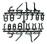 acerto 40362 44 Ganchos de pared perforados para pared metálica de herramientas * Ganchos de plástico macizo * Varios diseños * Perforación europea   Juego de ganchos surtido
